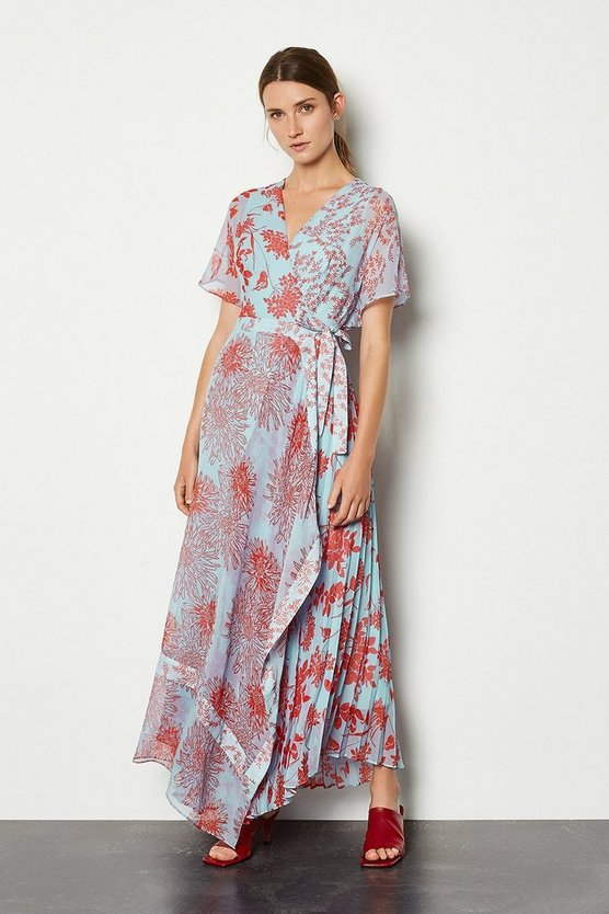 Pale blue Printed Wrap Midi Dress