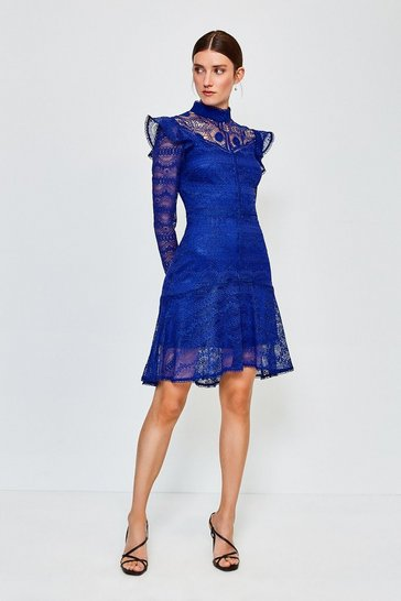 Dark blue Chemical Lace Ruffle Dress