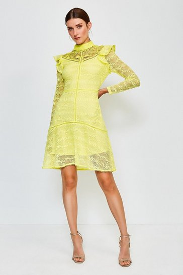 Lime Chemical Lace Ruffle Dress