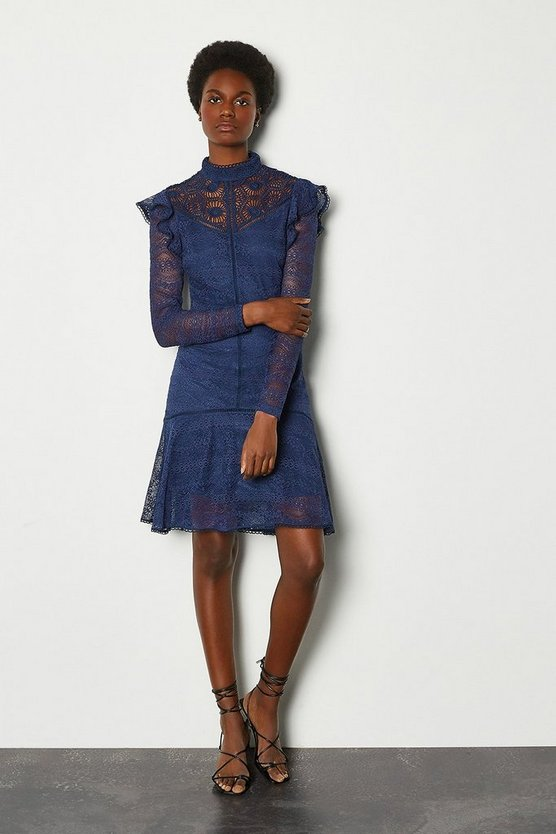 Navy Chemical Lace Ruffle Dress