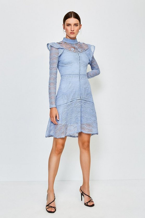 Pale blue Chemical Lace Ruffle Dress