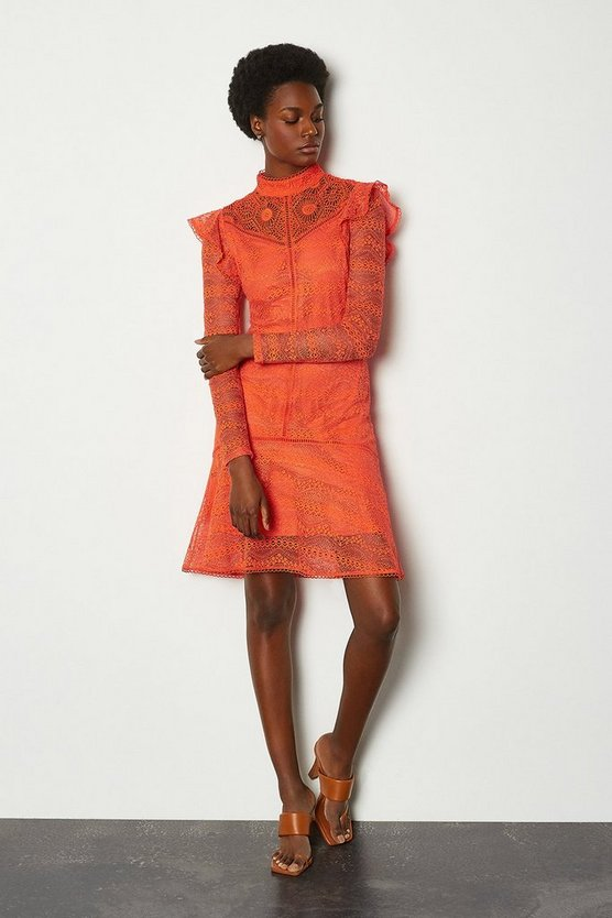 Red orange Chemical Lace Ruffle Dress