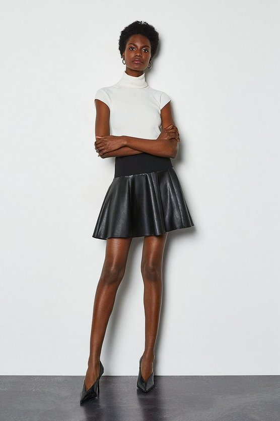 Black Faux Leather and Ponte Flippy Mini Skirt