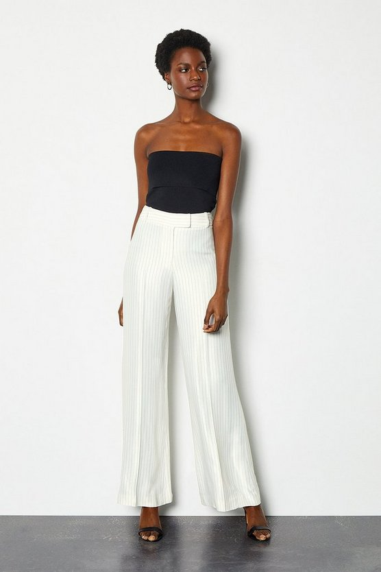 Ivory Summer Stripe Wide Leg Trousers