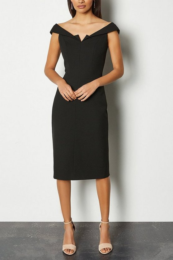Black Forever Bardot Pencil Dress