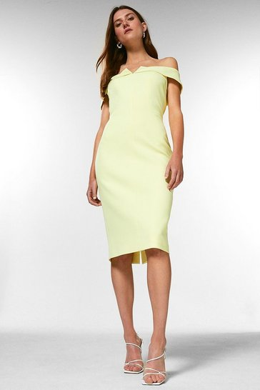Lime Forever Bardot Pencil Dress