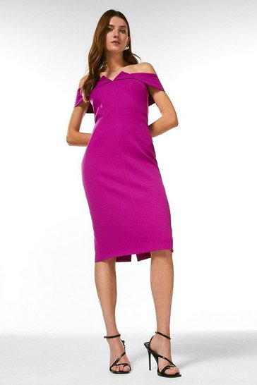 Purple Forever Bardot Pencil Dress