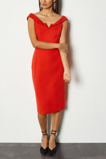 Red Forever Bardot Pencil Dress