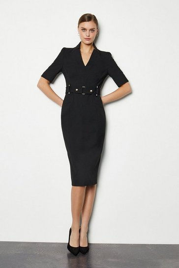 Black Forever Cinch Waist Pencil Dress