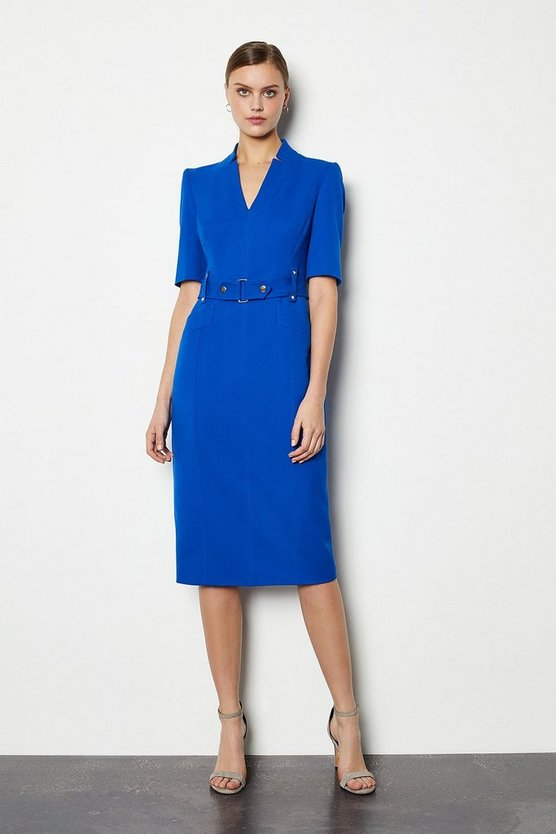 Cobalt Forever Cinch Waist Pencil Dress