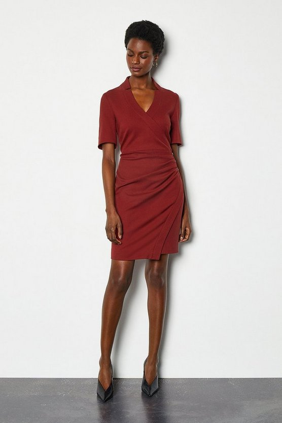 Rust Forever Short Wrap Dress