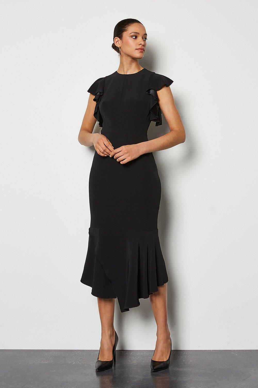 Karen millen Black Forever Kleid Klassisch mit Gürtel Flare Arbeit Party 6 zu 16