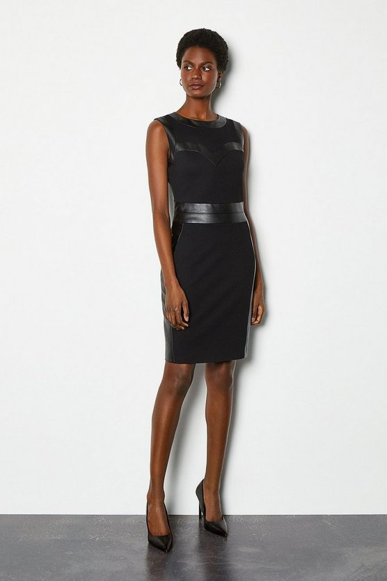 Black Faux Leather Bust Panel Pencil Dress