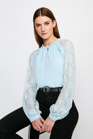 Blue Silk Embroidered Chiffon Top