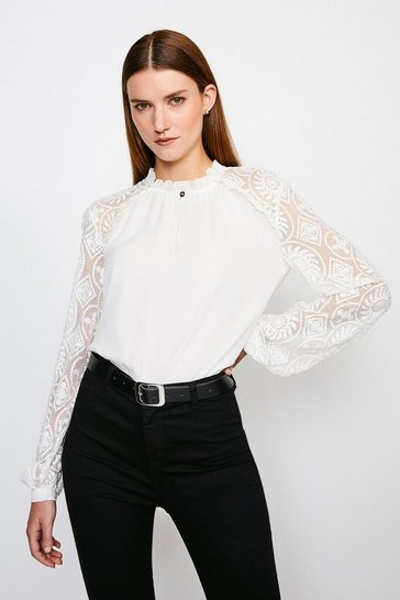 Ivory Silk Embroidered Chiffon Top