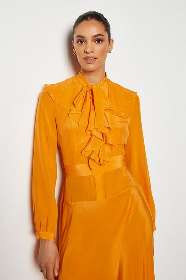 Orange Long Ruffle Silk Shirt Dress