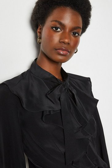 Black Silk Long Sleeve Ruffle Shirt