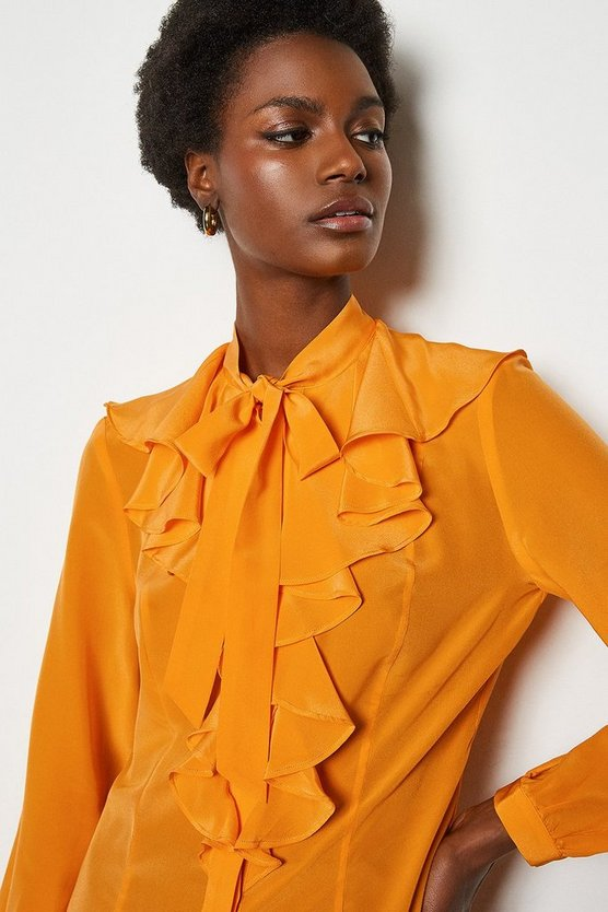 Orange Silk Long Sleeve Ruffle Shirt