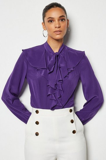 Purple Silk Long Sleeve Ruffle Shirt