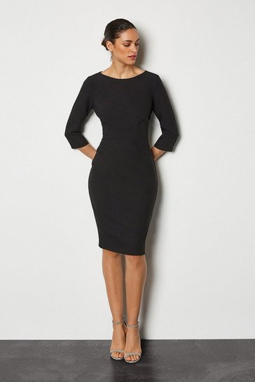 Black Seam Detail 3/4 Sleeve Tailored Dress