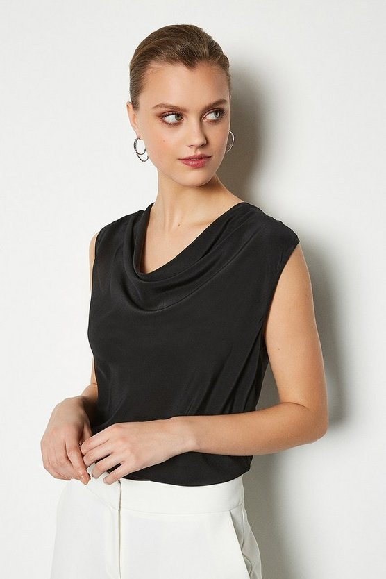 Black Silk Cowl Neck Top