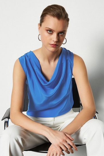 Cobalt Silk Cowl Neck Top