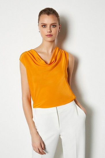 Flame Silk Cowl Neck Top
