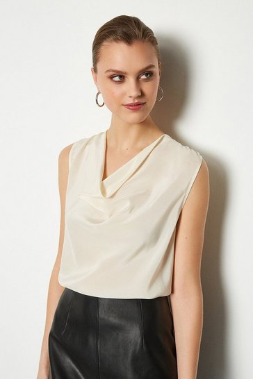 Ivory Silk Cowl Neck Top