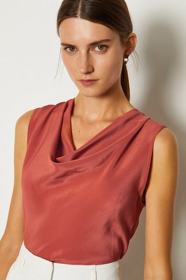 Tan Silk Cowl Neck Top