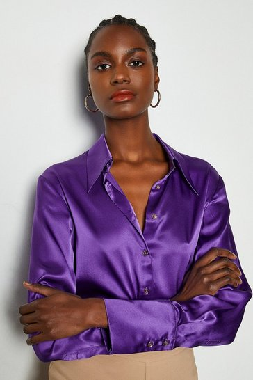 Purple Collared Silk Shirt