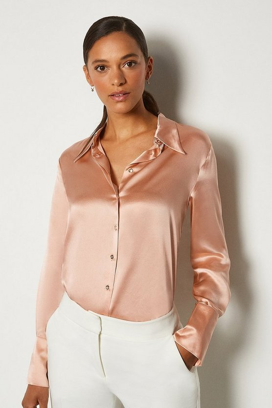 Rose Collared Silk Shirt