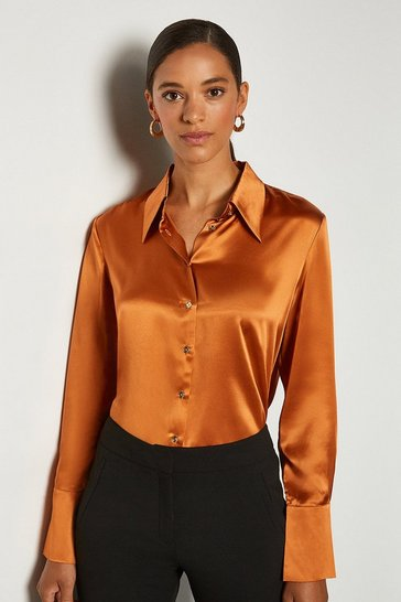 Tan Collared Silk Shirt