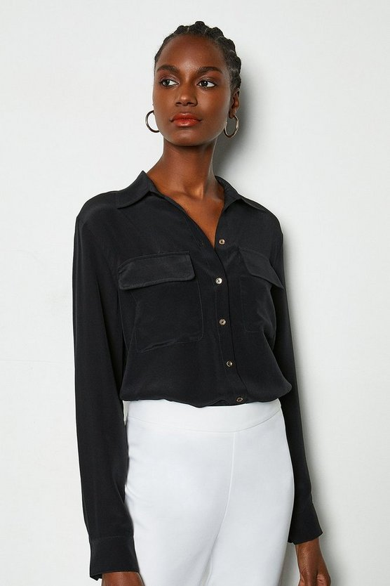 Black Silk Double Pocket Blouse