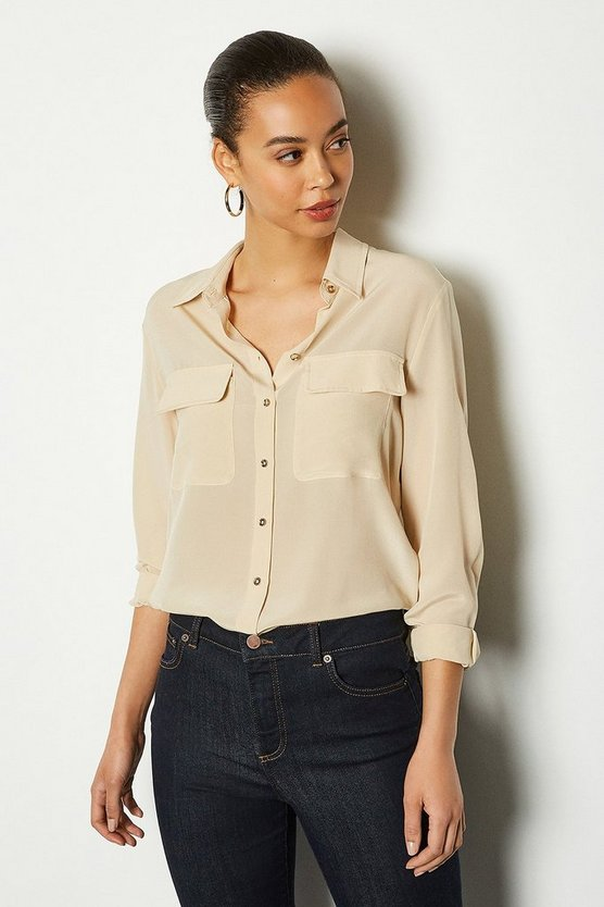 Nude Silk Double Pocket Blouse