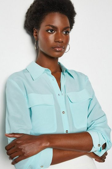 Pale blue Silk Double Pocket Blouse
