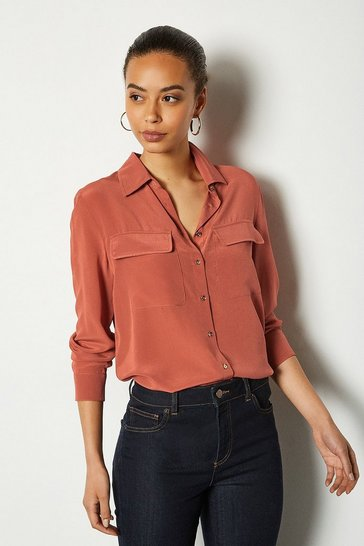 Rust Silk Double Pocket Blouse