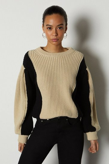Beige Colour Block Chunky Rib Knit Jumper