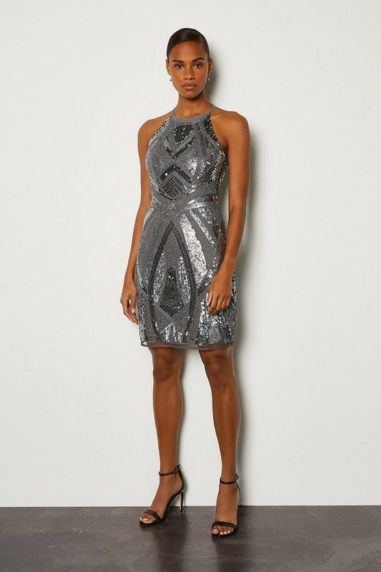 Grey High Neck Shift Dress