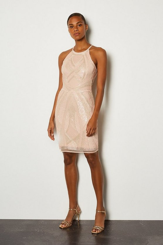 Pale pink High Neck Shift Dress