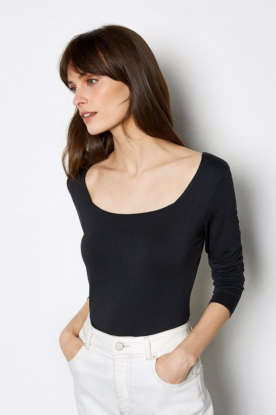 Black Square Neck Long Sleeve Body