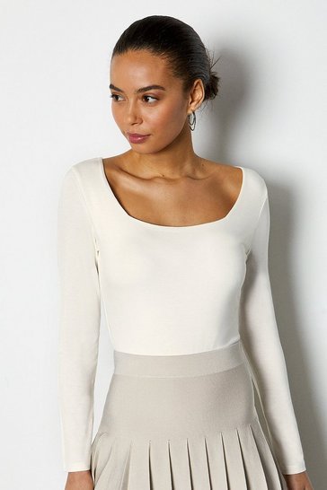 Ivory Square Neck Long Sleeve Body