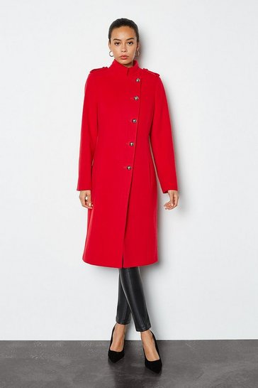 Red Wool Blend Military Coat