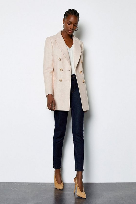 Nude Wool Blend Short Coat