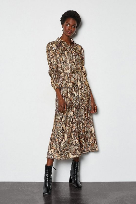 Natural Snake Print Long Shirt Dress