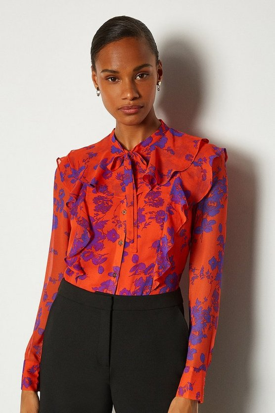 Orange Ruffle Printed Blouse