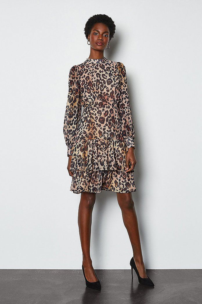 Tiered Long Sleeve Printed Animal Dress | Karen Millen