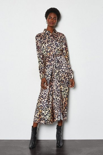 Natural Animal Print Shirt Dress