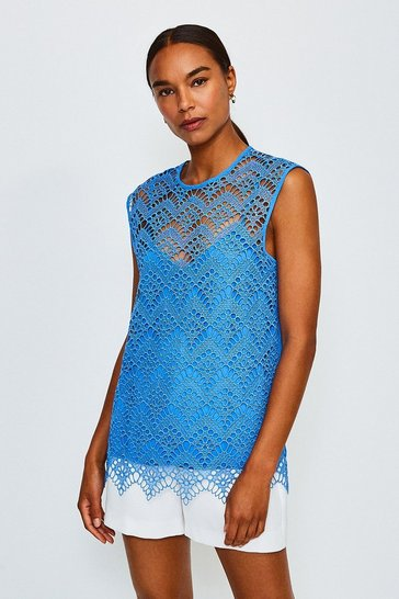 Blue Lace Cutwork Shell Top