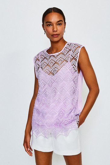 Lilac Lace Cutwork Shell Top