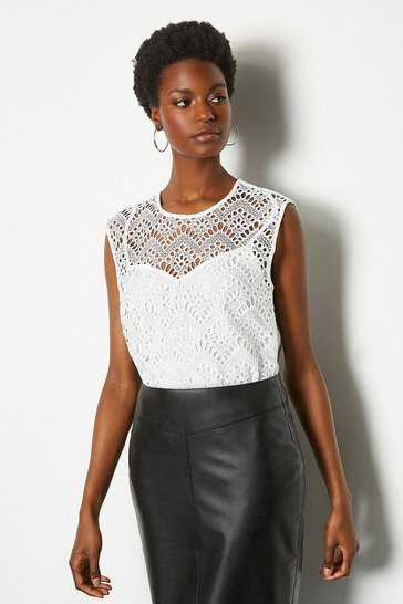 White Chemical Lace Shell Top